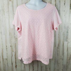 Croft & Barrow Womens Top 2X Pink Short Sleeve